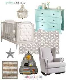 Spring-Inspired #Nursery Design Board - All items from @Vicki Snyder Barn Kids! #designboard