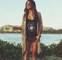 summer look. #boho #kimono #sunglasses
