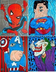 High School Art Project , If Picasso Drew A Superhero. Talk about abstraction, creativity, color. | http://pinterest-hot-pins.blogspot.com/