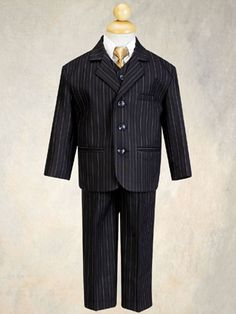 Baby Boys 5 Piece Black with Gold Pin-Striped Suit with Gold Tie