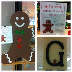 Every day we hide the gingerbread man in a new spot in the media center & give clues to his whereabouts. When students check out a book & tell us where he is, they get a treat. Too cool middle schoolers LOVE this. Seriously. It's nuts.