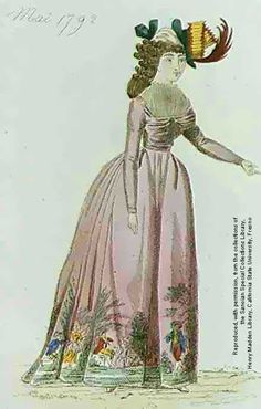 Pastoral scene near hemline. Not sure about zee hat | French Fashion Plate | May 1792