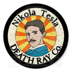 Nikola Tesla Death Ray Co. Stickers from Zazzle.com