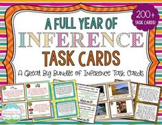 Inference Task Card Bundle! Over 200 inference task cards to keep your students practicing inferencing all year long! Each set of inference task cards reviews the key reading skill in variety of ways, including using pictures, riddles, comprehension questions, and other text. $