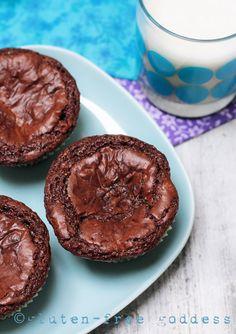 Gluten-Free Fudgy Brownie Cupcakes #glutenfree #dessrt #chocolate