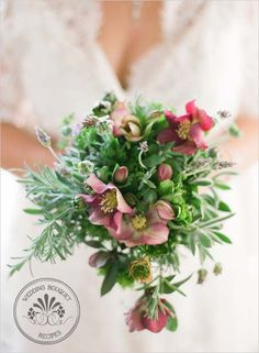 Gorgeous bouquet of pink hellebores and lavender...