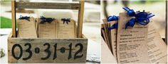 'Head Over Heels' wedding blog loves: Display your DIY wedding programs in a vintage tool caddy, using address numbers for your wedding date! Full blog: ow.ly/bSU2B