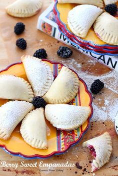 Flaky pastry pockets filled with creamy ricotta and a juicy blackberry from Roxanashomebaking.com A sweet twist on traditional empanadas. home baking, creami ricotta, food, berri sweet, hand pies, pastri, dessert, berries, sweet empanada