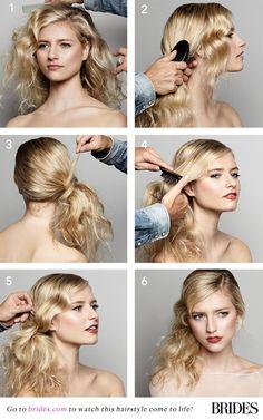 Easy #DIY side ponytail wedding hairstyle | Brides.com