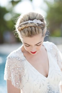 Elegant headpiece and wedding hairstyle