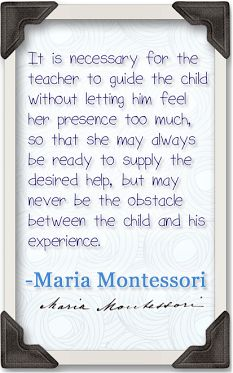 Following the child is perhaps one of the most important philosophies of Montessori education. By providing work that challenges and nurtures the child, the teacher experiences insight into the way each individual learns through observation and gentle guidance only when necessary. #MontessoriQuotes