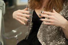 Graphite gray and diamond nails.