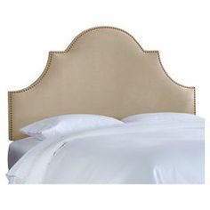 """Upholstered arch headboard with nailhead trim. Handmade in the USA.   Product: HeadboardConstruction Material: Wood and fabricColor: BuckwheatFeatures:  Handmade in the USAClassic high arch style, embellished with nailhead trim  Dimensions:  Twin: 58"""" H x 41"""" W x 4"""" D  Full: 58"""" H x 56"""" W x 4"""" D  Queen: 58"""" H x 62"""" W x 4"""" D  King: 58"""" H x 78"""" W x 4"""" D  California King: 58"""" H x 74"""" W x 4"""" DNote: Product is for headboard o…"""