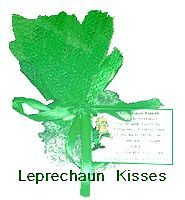 Make easy favors for St. Patrick's Day by wrapping chocolate kisses in tulle and attaching a printable label.