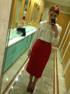 Red midi pencil skirt, white blouse, work outfit