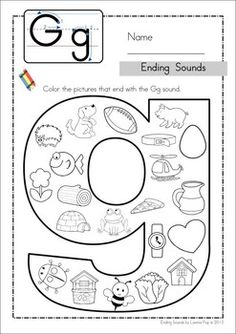 Ending Sounds - Color It! Includes separate pages for some middle sounds too! Fun for preschool and kindergarten! מה מתחיל באות - G ?