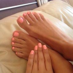 Soft coral nails + toes.