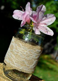 burlap + lace + mason jar