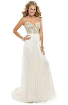 Make a grand entrance n this flirty chiffon dress with a sparkling bodice! | Flirt #flirtprom #prom #promdress #gold