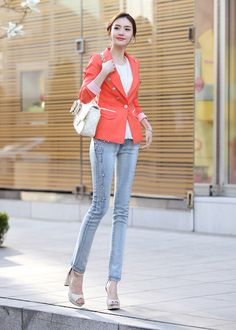 Fashion Rhinestone Embellished Women's Tapered Denim Pant - BuyTrends.com