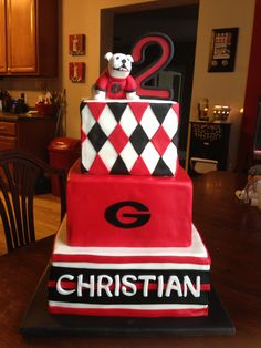 Best Football birthday cakes. GA Bulldog Birthday Cake. #UGA #Georgia #Bulldogs #cakes #birthdaycakes