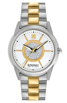 Sperry Top-Sider® 'Audrey' Pavé Dial Two-Tone Bracelet Watch, 38mm available at #Nordstrom