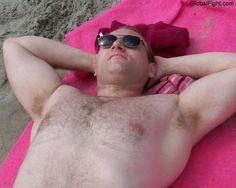 big beefy men beach