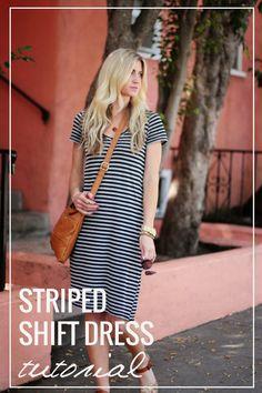 Striped Shift Dress Tutorial