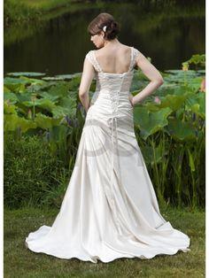 Tulle/ lace Asymmetrical Draped A-line Detachable Cap Sleeve Sweetheart Neckline Wedding Dress