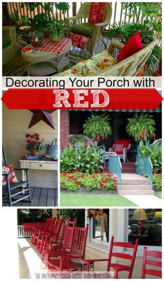 Decorate your porch with red for dramatic color - as shown on Front-Porch-Ideas-and-More.com #porch #frontporchideas #decoratingwithred