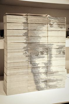 Mark Zuckerberg Portrait Created From Carved & Stacked Books