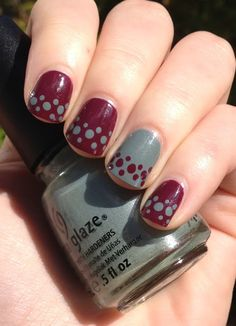love the idea of a single reverse nail...China Glaze Purr-fect Plum China Glaze Elephant Walk