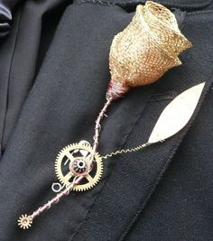 groomsmen, rose, gold weddings, burlap flowers, stuff, steampunk buttonhol, wedding ideas, wedding planners, boutonnieres