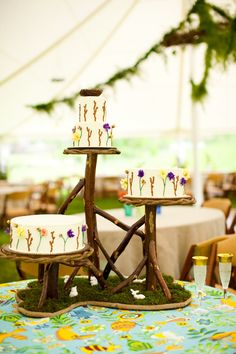 Tiered Tree Wood Wedding Cake Stand