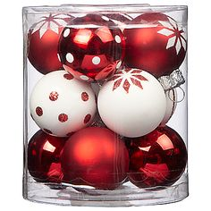 John Lewis Mini Holiday Baubles, Red/White