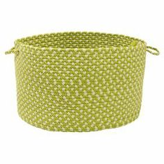 """A charming addition to your powder room or poolside, this hand-braided utility basket is perfect for stowing bath linens or snorkels. Made in the USA.  Product: Utility basket Construction Material: 100% PolypropyleneColor: LimeFeatures:  Braided designSuitable for indoor or outdoor useStain and fade resistant Two easy-grip handles Made in the USA  Dimensions:Small: 10"""" H x 14"""" DiameterLarge: 12"""" H x 18"""" Diameter Cleaning and Care: Spot clean with any common household cleaner"""