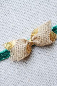 Burlap Bow. Gold Polka Dot. Custom Baby Headband Love.