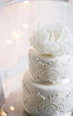 via All White Wedding Cakes / Wedding Style Inspiration / LANE (PS Follow The LANE on instagram: the_lane)