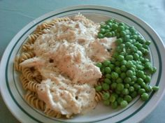Crockpot Italian Chicken: 4 chicken breasts, 1 packet Zesty Italian dressing seasoning, 2 oz water, 1 8 oz. cream cheese (softened), 1 can cream of chicken soup; Cook on low for 4 hours. If sauce is too thick, add a little milk. Serve over pasta.