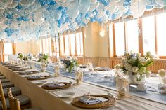 The beautiful blue and white balloons  covered the entire ceiling at Shutters on the Beach in Santa Monica.