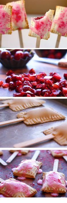 Bite size pop-tarts-- 1 cup of fresh cherries, pitted and diced, 3 T. sugar, 2 T. cornstarch 2 T. water,1/2 tsp. almond extract 1 pkg. prepared pie crusts *Wooden popscicle sticks FOR THE GLAZE 1 c. powdered sugar,1-2 T. milk, 1/2 tsp. vanilla  food coloring and sprinkles (optional)