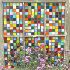 "Stained Glass Mosaic Repurposed Window ""Pieces of my Heart"" Quilt Rainbow $375"