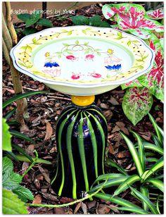 Art Glass Garden Totem / Bird Bath  As by GardenWhimsiesByMary, $38.00