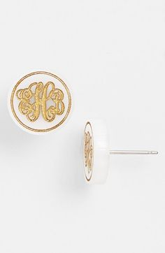 Love these white and gold monogram studs
