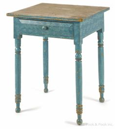 """Pennsylvania painted pine one-drawer stand, 19th c., with its original blue combed surface, 29 1/2"""" h., 23 3/4"""" w. origin blue, blue prim, wonder blue, antiqu blue"""