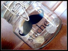 Mustache Stache Glass Jar