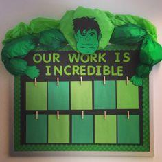 Superhero themed classroom bulletin board. The Hulk!!!
