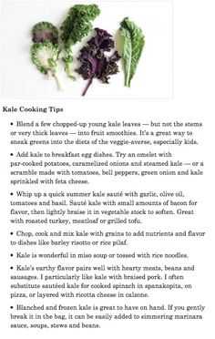 #Kale Cooking Tips and #Recipes. #food #healthyeating