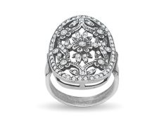Van Kempen Art Deco Flower Ring with Swarovski Crystal in Sterling Silver