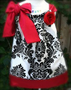 Red Damask Pillowcase Dress